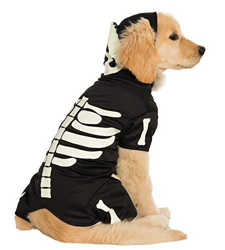 Rubies Costume nachtleuchtendes Skelett Hoodie Pet Kostüm, XXXL