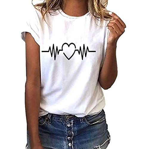 ESAILQ Frauen Sommer Wimpern Top Kurzarm Bluse Casual Lose Tops T-Shirt (S, Weiß-6)