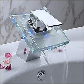 Auralum® Grifo de Lavabo Cascada Baño Monocommando LED RGB Cambio Color Cromo Plateada Latón y Cristal Diseño Elegante