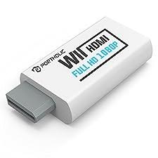 Wii zu HDMI Adapter Konsolen Adapter 480P ,PORTHOLIC Wii Converter HDMI mit Audio über HDMI und extra 3,5mm Buchse für Audioausgang für TV Monitor Beamer Fernseher variable Auflösung