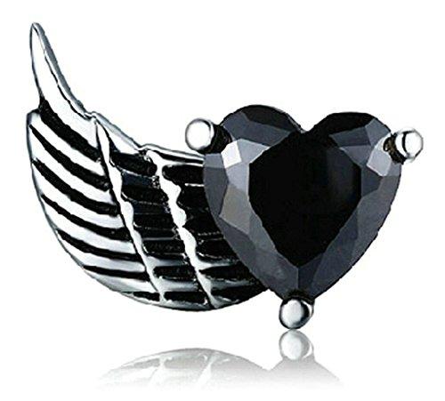 Gnzoe Jewelry, Femmes Hommes En Acier inoxydable Stud Earring Zircon Cubique Heart Wing 2Pcs/1pcs Noir(1pc-Right)