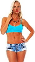 10295 Fashion4Young Damen BH Top Träger-Top bauchfrei Bandeau-Bustier Sport Sporttop Fitness 2 Gr