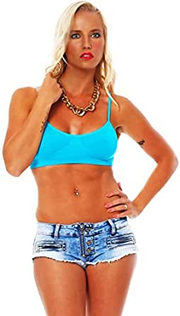 10295 Fashion4Young Damen BH Top Träger-Top bauchfrei Bandeau-Bustier Sport Sporttop Fitness 2 Gr (S/M 34/36, Blau)