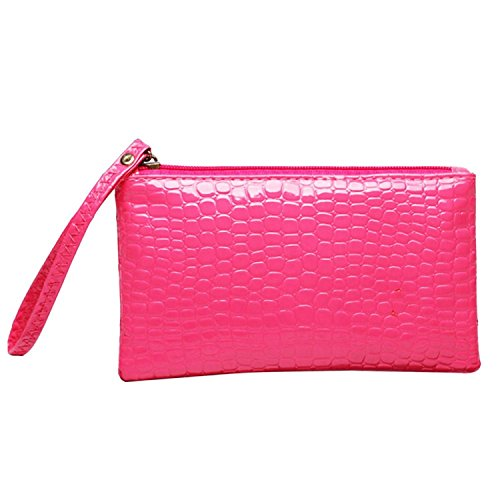One size , Rose-Red : Bodhi2000 Women's Fashion Clutch Long Wallet Card Holder Purse Handbag Phone Bag Pouch