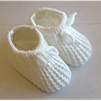 Baby Booties Knitted Newborn Bootees Size 0-3 Months White (White)