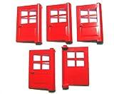 LEGO CITY - 5 Classic Haustüren - Türen - Eingangstüren in rot - 3861