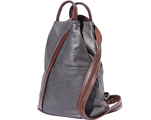 Charming & Chic - Borsa a Zainetto unisex adulti Dark Grey with Brown