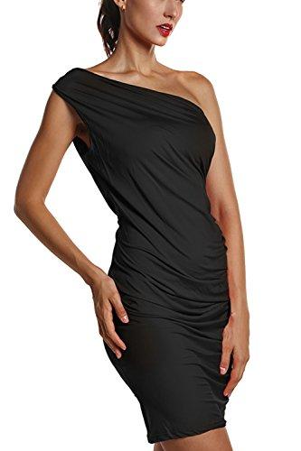 Damen 1-Schulter figurbetontes Cocktailkleid Black