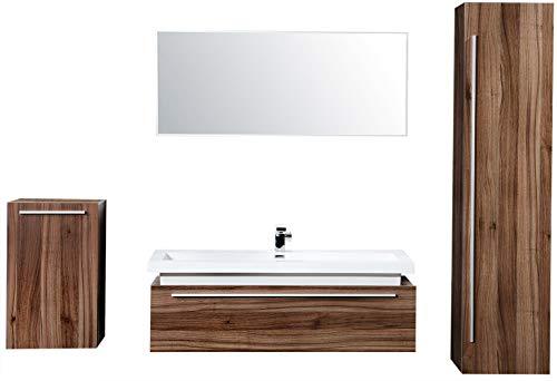 Badmöbel Set N1200 walnuss - Spiegel und Seitenschränke optional, Spiegel:Ohne Spiegel, Seitenschrank RECHTS:Ohne Seitenschrank Rechts, Seitenschrank LINKS:Ohne Seitenschrank Links -