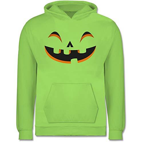 Shirtracer Karneval & Fasching Kinder - Kürbisgesicht Kostüm - 12-13 Jahre (152) - Limonengrün - JH001K - Kinder Hoodie (Halloween-kostüm Für College-jungs)