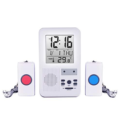 ALEENFOON Haus Wireless Mobiler Alarm Notruf Knopf Hausnotruf Panikalarm Funkalarm für Pflegebedürftige Geduldig Älterer Mann mit Thermometer Wecker Datum Funktion - Blinkt Wecker Licht