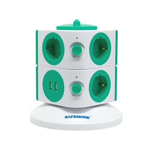 Safemore Torre Multipresa Ciabatta Elettrica con 7 Prese e 2 USB, Protezione per Bambini, 6.5FT / 2M Cavo di Alimentazione per Casa e Ufficio Appliances (Bianco + Verde, 2L Series)