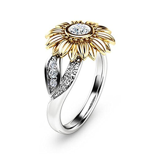 Protector Hochzeit Band (Goldene Sonnenblumen Ring Für Frauen Versilberter Kupferring 10)