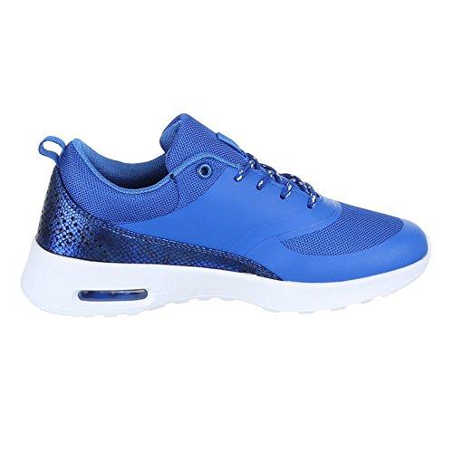 Scarpe Da Donna Ital-design, H003, Scarpe Casual Alla Moda Stringate Blu