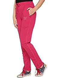 Cupid Comfortable Plain Pink Cotton Track Pants for Women/Girls (M to 5XL Sizes)