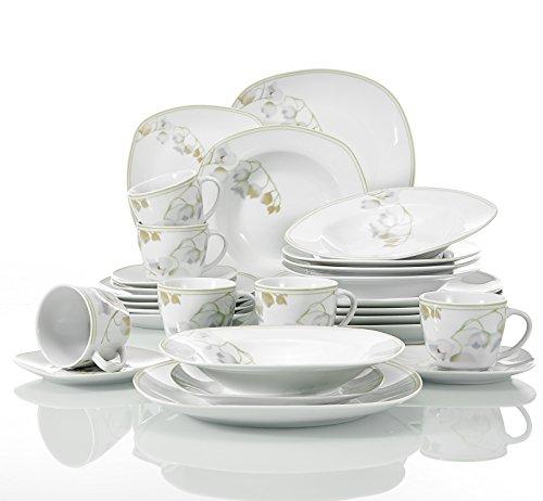 Veweet EMILY 30pcs Service de Table Porcelaine 6pcs Assiette Plate/Assiette à Dessert/Assiette Creuse/Tasse avec Soucoupes pour 6 Personnes Vaisselles Céramique Design Fleuri