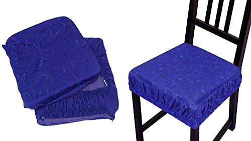 Takestop® set 4 coprisedia cuscini blu con fascia elastico cuscino per sedie imbottito sfoderabile trama casuale
