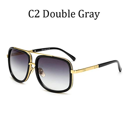 lili Large Frame Sunglasses Men Vintage Women Sun Glasses Retro Grandmaster Square Eyewear UV400,1828 C2