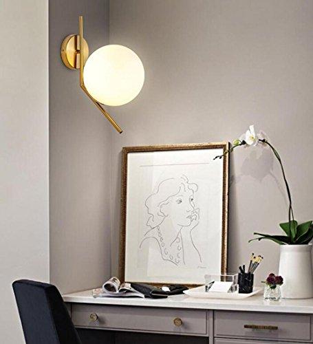 Moderne créative simple Applique murale Place intérieur spot de plafond design rond élégant abat-jour en verre table de chevet lampe murale en métal Lampe Salon Chambre Lumières de Doré Ø20 cm