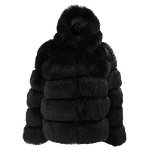 neuda Damen Felljacke Fellmantel Damen Mantel Winter Jacke Plüschjacke Warm Faux Pelzmantel Outwear Kurz Coat