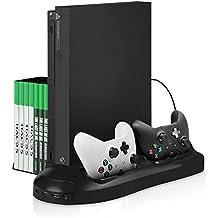 Support pour Xbox One X - Younik Ventilateur de Support Vertical avec Manettes Double Entré de recharge, stockage de jeu 7 Slot et 3 ports hub USB pour Xbox One X (Non compatible avec la Xbox One S)