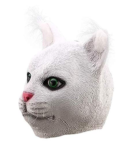 Zu Kostüm Sie Machen Katze Hause - Xiao-masken Latex Lustige Vollkopf Mürrisch Garfield Weiße Katze Maske Kostüme Cosplay for Lustige Karneval Halloween Party Kostüm Filmrequisiten