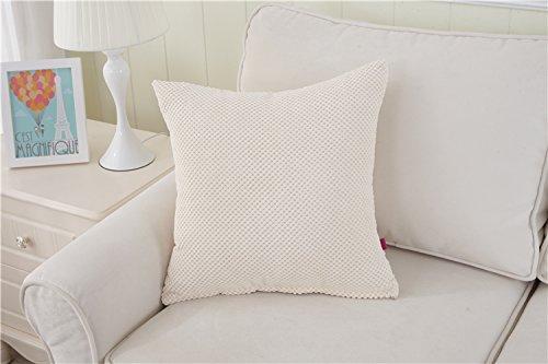 Teebxtile Haut confort velours Velvet Back support berceau de couleur unie velours côtelé, 50x50cm (oreiller + oreiller), m blanc