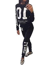 Minetom Donna Autunno Maglie a Manica Lunga Pantaloni Tute da Ginnastica  Abbigliamento Sportivo Tuta Jogging Felpa 61254d1c181