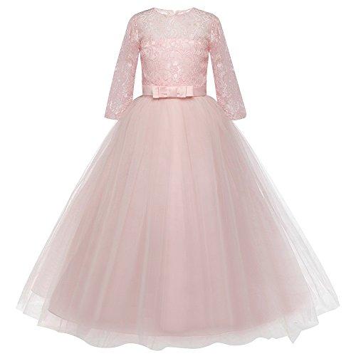 Kinder Mädchen Kleid - Fünf Punkt Hülsen Kleid mit Spitze und Gestickte - Bögen Leistung Geburtstag Kleid Hochzeit Prinzessin Kleid Rock (Gestickte Trikot-kleid)