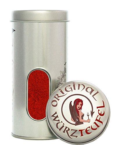 Paprika geräuchert, ungarischer Rauchpaprika mit mild - würzigem Buchenrauch. Dose 80g.
