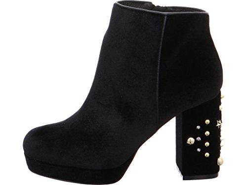 CAFè NOIR NE928 nero stivaletti donna tronchetto velluto zip tacco borchie Nero