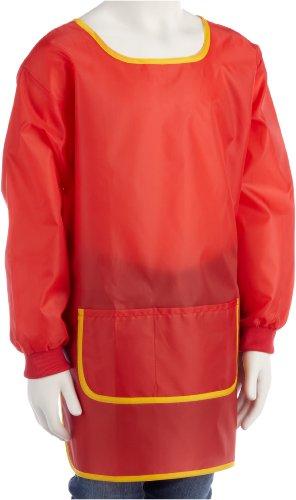 Idena 611186 - Bastelschürze für Kinder von 7 - 8 Jahren mit langen Ärmeln und Klettverschluss, perfekt zum Malen, Basteln, Kochen und Matschen, rot