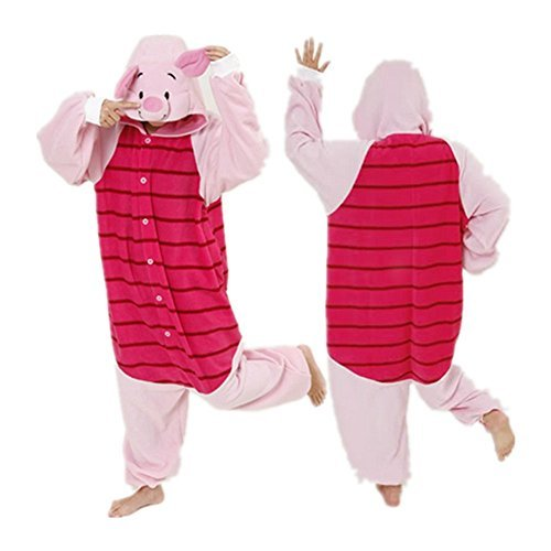 Piglet Adult Men Women Unisex Animal Sleepsuit Kigurumi Cosplay Costume Pajamas Outfit Nonopnd Nightclothes Onesies Halloween Cheap Costume Clothing (M(162CM-171CM)) by (M&m Kostüme Halloween Diy)