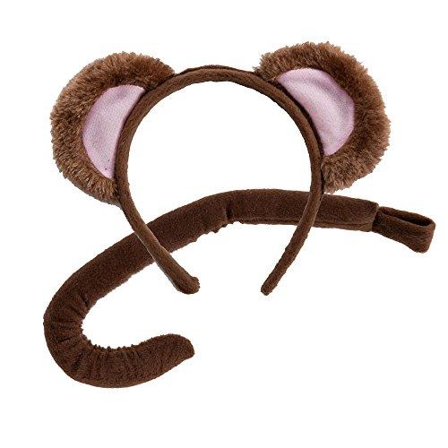 Monkey Kostüm Tail - Tierohren & Tail Set, Zubehör zum Kostüm Affe