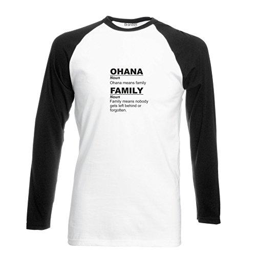 Brand88 - Ohana Means Family, Langarm Baseball T-Shirt Weiss & Schwarz