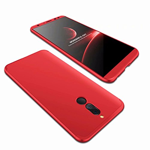 AILZH Huawei Mate 10 Lite Hülle 360 Grad Schutzhülle PC Schale Anti-Schock Shockproof Ganzkörper Schützend Anti-Kratz Stoßfänger 360° Full-Cover Case Matte Schutzkasten 3 in 1(Rot)