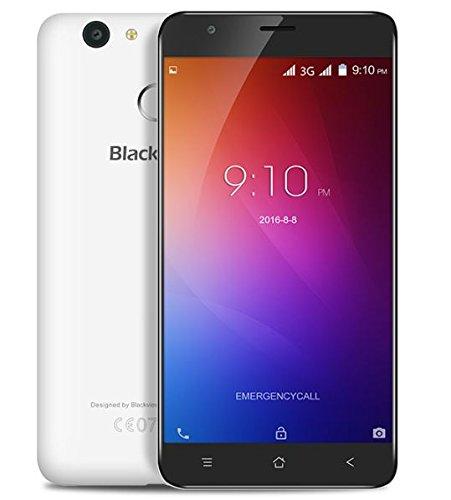 Blackview E7s - Android 6.0 teléfono inteligente 3G 5.5 pulgadas Quad Core 2 GB de RAM 16 GB de la huella digital de doble SIM GPS - blanco