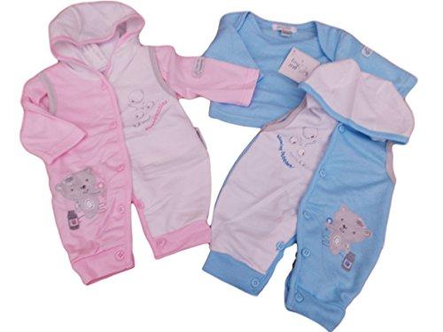 BNWT Reborn prématuré Preemie Vêtements pour bébé 2pièces à capuche tout en un et haut Bleu rose 3-5lbs