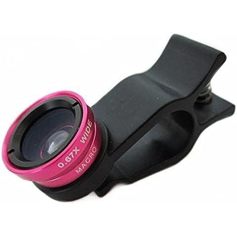 Pechon Rose universale Clip 3 in 1 180 pesci occhio di Grado + Ampio corrossoo Angle Lens + Micro per iPhone 4 4S 4G 5 5G 5S 5C Samsung Galaxy S2 i9100 S3 I9300 S4 i9500 Nota I9220 Note2 N7100 Nota3 S3 i8190 mini S7562 HTC DC264