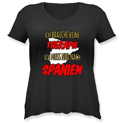 Länder - Ich brauche keine Therapie ich muss nur nach Spanien - Weit geschnittenes Damen Shirt in großen Größen mit V-Ausschnitt Schwarz