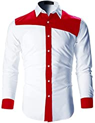 FLATSEVEN Camisas Slim Fit Designer De Vestir Hombre