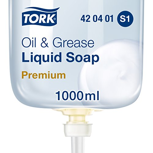 Tork 420401 fettlösende Flüssigseife Premium für Tork S1 Seifenspendersysteme/Transparente, milde Handseife mit fettlösender Komponente/1 x 1000ml (Gel-glas-seifenspender)