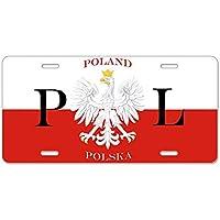 CafePress–Polonia/Polska–Placa de Licencia, frontal de aluminio placa de licencia, tocador etiqueta