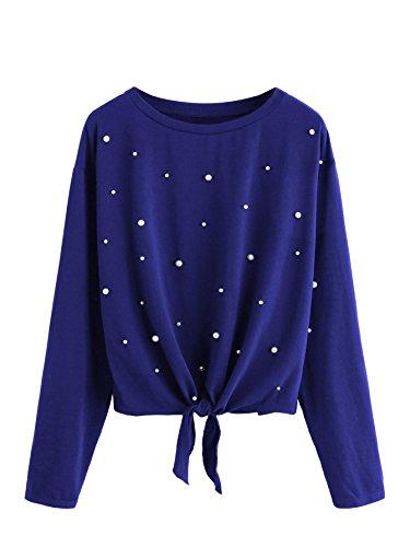 DIDK Damen Pulli Langarmshirts Rundhals T-Shirt Oberteile Pullover mit Perlen und Knoten Blau XS