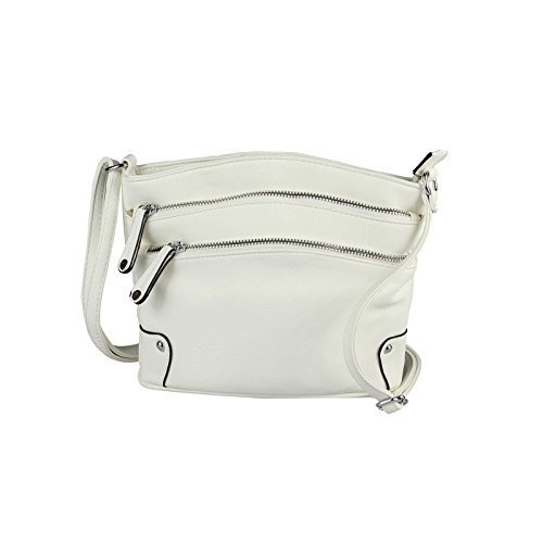 OBC DESIGN ITALIANO Clutch Borsa a tracolla borsa da donna borsetta Crossover Borsa a tracolla portamonete borsa di gioielli - NERO 19x25x8 cm, ca 19x25x8 cm ( BxHxT ) BIANCO 19x25x8 cm