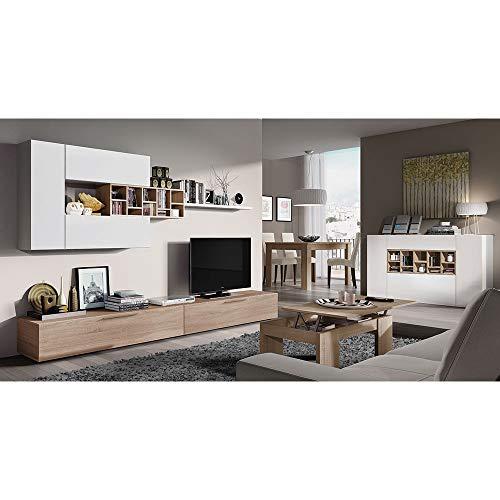 Parete attrezzata santa lucia mobile soggiorno tv con mensole e vani salotto legno base televisione sala da pranzo design moderno 260 x 42 x 32 cm colore bianco lucido e rovere canadese