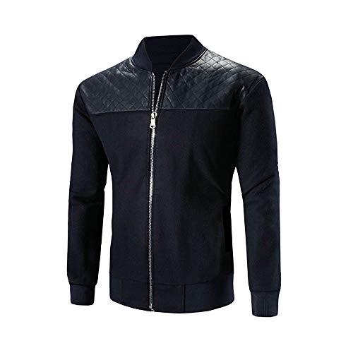 Luckycat Herren Herbst Winter Stehkragen Patchwork Mantel Jacke Reißverschluss Outwear Warmer Mantel Mode 2018