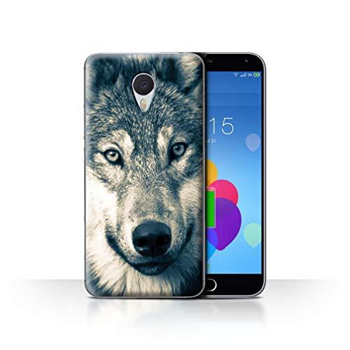 eSwish Hülle/Case für Meizu M3 Note/Retro Graues Porträt Muster/Wildes Tier Raubtier Wolf Kollektion