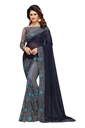 I-Brand Women\'s Georgette, Net & Banglori Silk Fabric Saree With Blouse Piece (Blue, Grey_FREESIZE)