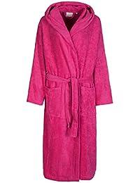 Florentina - Albornoz de rizo suave para mujer con capucha 100% algodón - Rosa